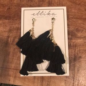 Ettika black tassel earrings